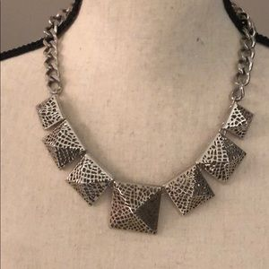 BCBG Silver Pyramid Statement necklace